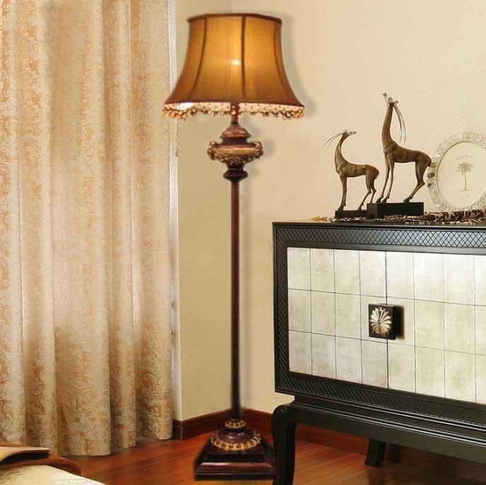 European Style Floor Lamp Antique Resin Touch Modern Vintage Simple Study Bedroom