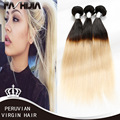 FASHIJIA Peruvian Hair 1B 613 Two Toned Virgin Hair Bundles Straight  Ombre Platinum Blonde Pervian Virgin Hair Straight 4 Pcs
