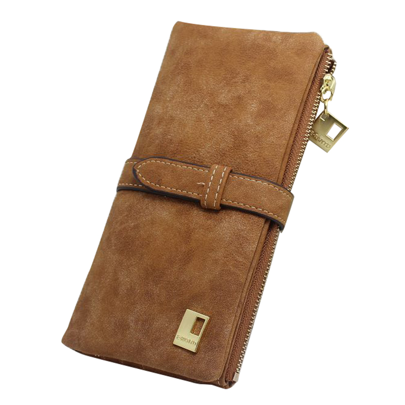 Women Wallets fashion trends pumping frosted multi-card pu leather two fold wallet lady Ms. Long purse card Brown