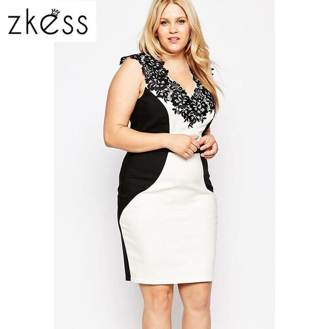 ad64afdd78 ZKESS New Sexy Curvy Dress LC22529 Hot Sale Plus Size Color Block Lace  Applique Pencil Dress Night Club Wear Vestido De Festa