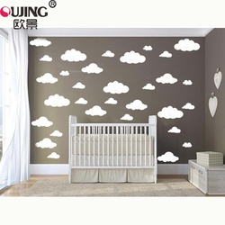 48pcs/set Mixed Size 2-8cm Cartoon Clouds Wall Stickers For Kids Rooms Decoration Self-adhesive PVC Wallpaper Art Wall Decals