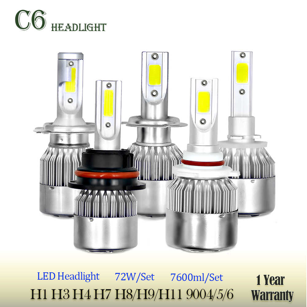 Car Lights Bulbs LED H4 H7 9003 HB2 H11 LED H1 H3 H8 H9 880 9005 9006 H13 9004 9007 Auto Headlights 12V Led Light Free Shipping