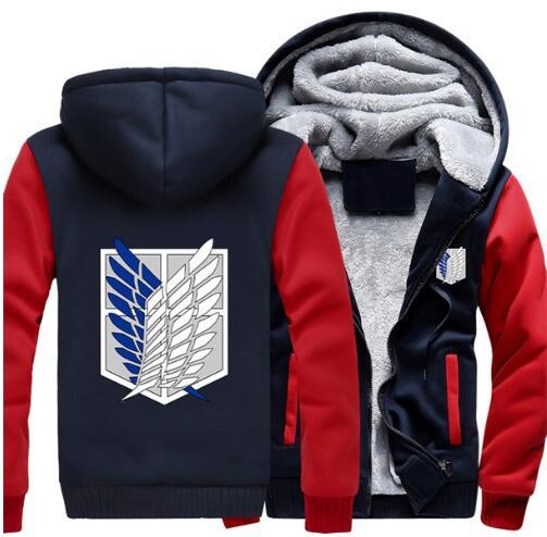 Wholesale Hooded padded jacket Attack on Titan Survey Legion Coat Zipper Hoodie Winter Fleece Unisex Thicken Jacket Clothing