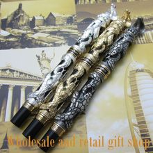 2pcs high quality  black White Gem fountain pen + roller pen  Free Shipping pen roller pen high quality jin hao flying dragon office gift pen free shipping