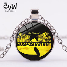 SIAN 2019 Wu-Tang Clan Necklace Ancient Silver Plated Punk Chain New York HIP-HOP Rap Band Pendant Necklace Gifts for Music Fans(China)
