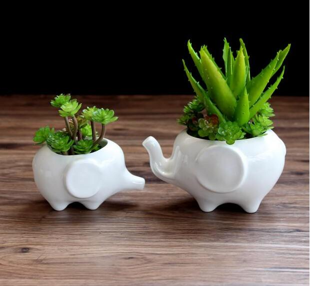 flower pot planters white elephant ceramic pote de vidro. Black Bedroom Furniture Sets. Home Design Ideas