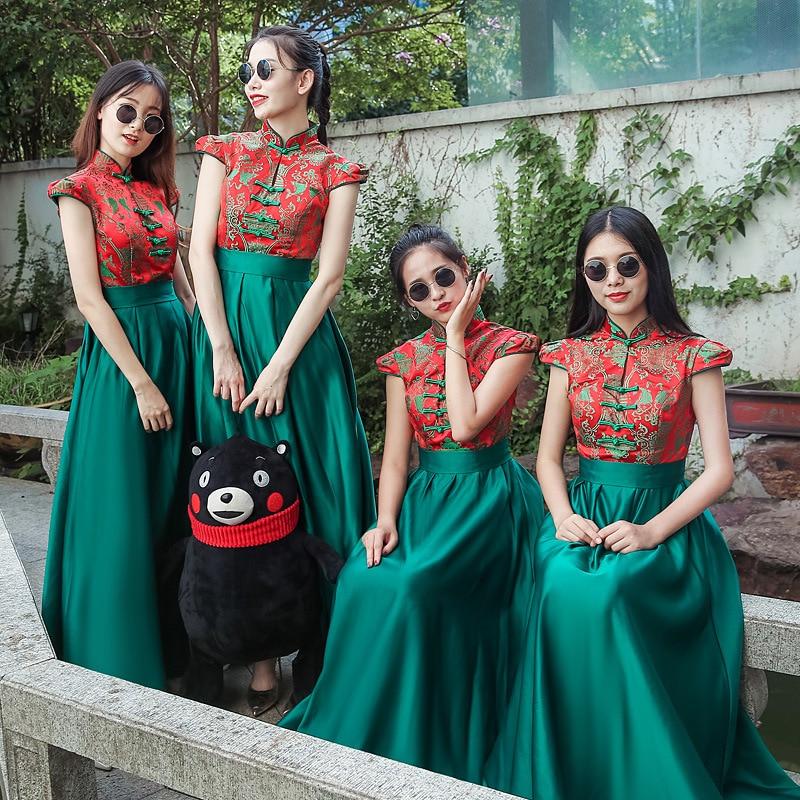 Chinese Traditional Women Cheongsam Elegant Print Flower Plus Size XXS-3XL Qipao Ladies Wedding Bridesmaid Dress Gowns Vestidos