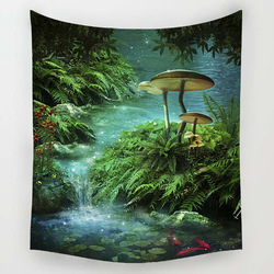 Night Scenry Decoration Beach Round Towel Plant Flowers Wall Carpet Home Decor Hanging Living Printing Wall Tapestry