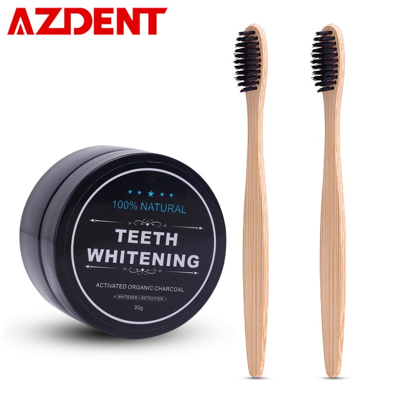 AZDENT Teeth Whitening Powder Set 2 Pcs Bamboo Toothbrush Charcoal Toothpaste Whitening Tooth Powder Toothbrush Oral Hygiene