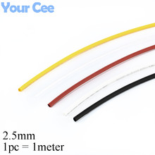 1pc 1meter 2.5mm 2:1 Heat Shrink Shrinkable Sleeve Heatshrink Tube 600V Insulation Wire Cable Black White Yellow Clear Red