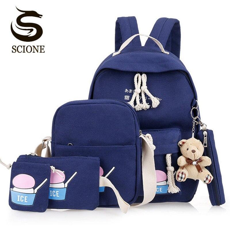 Scione 6PCS Backpack Student School Bags Set Canvas Laptop Backpacks for Teenager Girls Women Travel Backpack School Bookbag