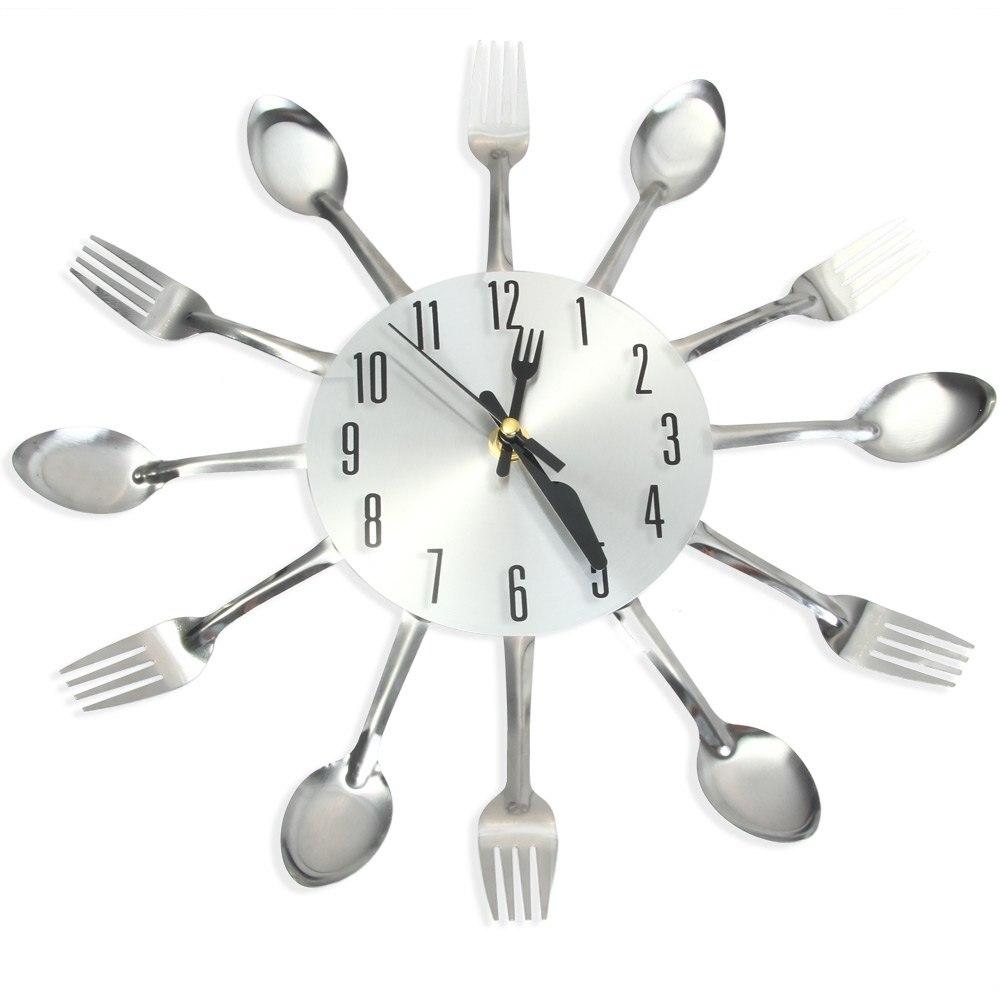 2017 New Modern Kitchen Wall Clock Sliver Cutlery Clocks Spoon Fork  Creative Wall Stickers Mechanism Design