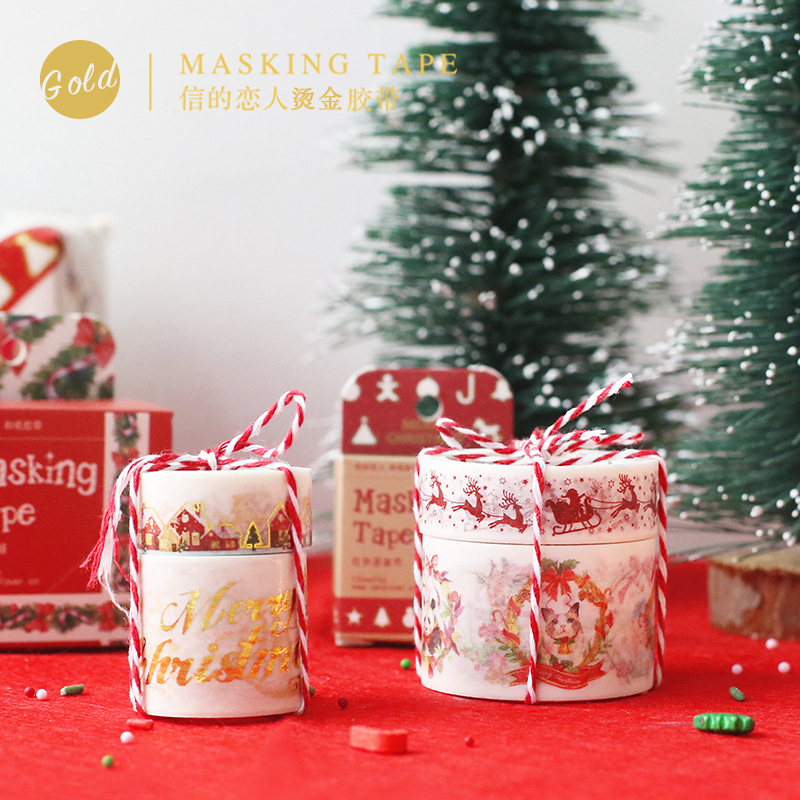 Christmas Trees Merry Christmas Golding Decorative Postcard Washi Tape Adhesive Tape DIY Scrapbooking Sticker Label Masking Tape