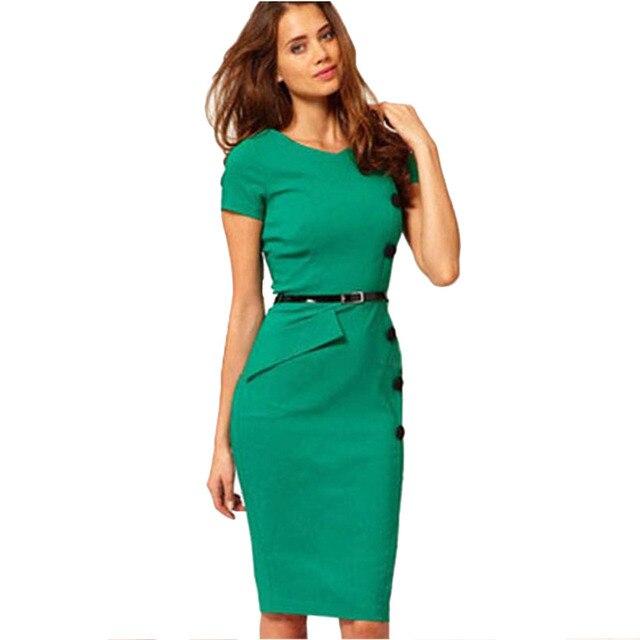 Oxiuly Fashion Temperament Professional Women Elegant V-Neck Empire Waist  Casual Bodycon Button Knee-Length Dress Plus Size 3XL 9cf442359d5a