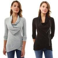 Tatlı Sweatshirt Uzun Kollu Düzensiz Fermuar Tasarım Hoodies Paket Kalça Gri Siyah Kadın Giyim Kadın Tops