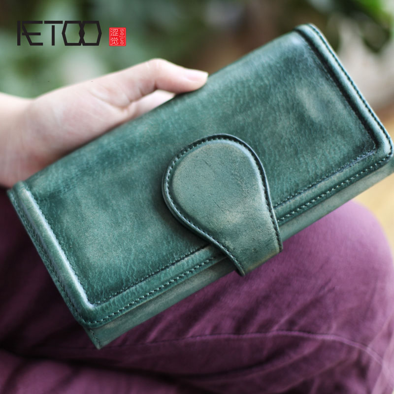 AETOO Retro art Fan hand cowhide cross section Ms. long wallet wallet lady long section Vintage wallet olg yat italian vegetable tanned cowhide handmade long section of hasp art wallet elegant retro handbag fiscal cloth