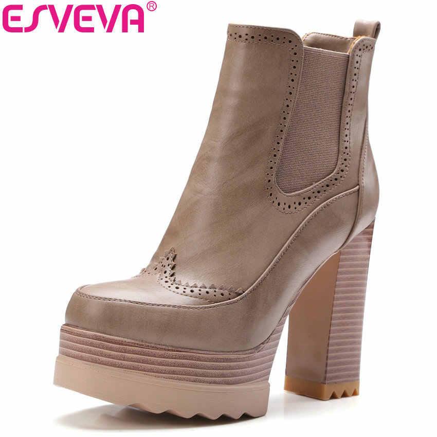 ESVEVA 2020 batı tarzı kadın botları haki platformu PU sonbahar ayakkabı kare yüksek topuk platformu kış yarım çizmeler boyutu 34-42