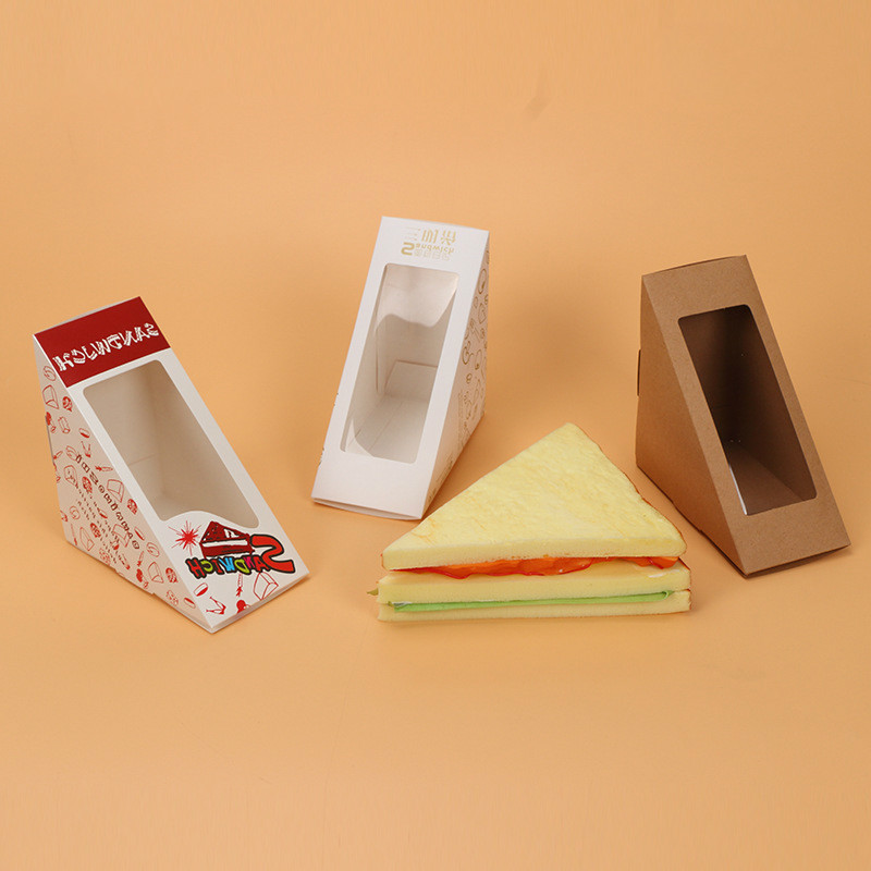20 Pcs Sandwich Box With Windows Paper Packaging For Fast Food Shop Restauran Disposable Packing Thicken Supplier
