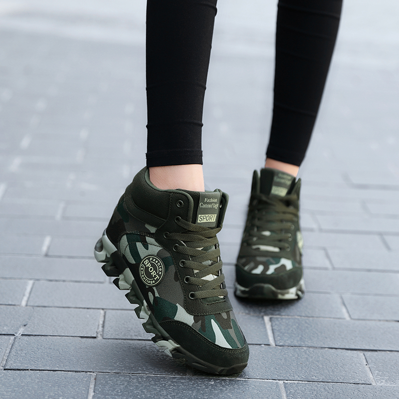 Fashion Camouflage Sneakers Women Hide Heel Canvas Casual Shoes Woman Platform Sneakers Wedge Shoes Plus Size 35-42 XZ122