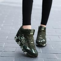 Plus Size 35 42 Fashion Women Camouflage Sneakers Hide Heel Canvas Casual Shoes Woman Platform Sneaker Women Wedge Shoes XZ122