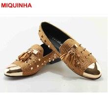 MIQUINHA Metal Round Toe Slip On Men Shoes Tassel Embellish Rivets Decor Casual Men Loafers Runway Super Star Luxury Brand Shoes