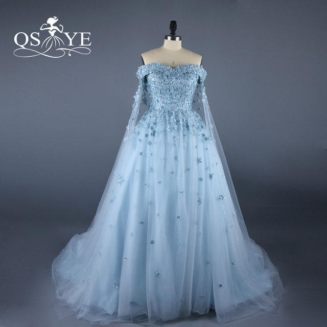 821d3976200 Vestido de Noiva Blue Arabic Vintage Evening Dresses with Cape 2017 Real  Photos Sweetheart Beading 3D Flowers Lace Prom Dress
