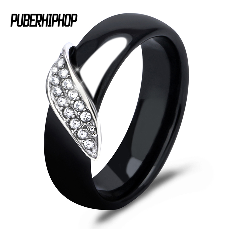 New Arrival 6mm High Quality Black And White Simple Style Comly Crystal Leaf Shape Ceramic Rings For Women Fashion Jewelry Gift stylish leaf shape faux crystal decorated anklet for women