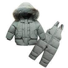 Модный зимний комплект одежды для маленьких мальчиков, зимний лыжный костюм для мальчиков, детский спортивный комбинезон, теплые пальто, пуховые куртки с мехом и брюки с нагрудником