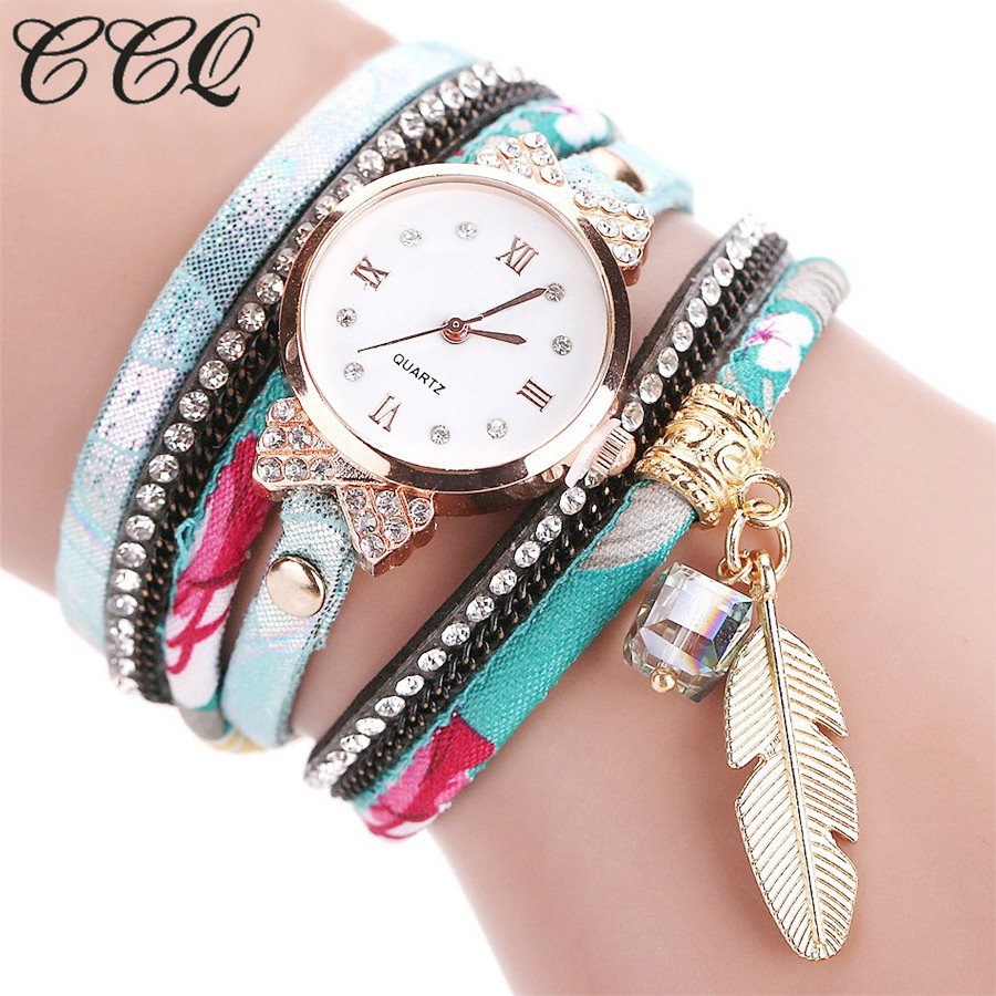 CCQ Fashion Brand Clock Quartz Watch Women Dress Leather Wristwatches Casual Pendant Bracelet Clock Watches Drop Shipping C51 fantastic 2016 hot sale leaf pendant bracelet leather chain alarm clock analog quartz movement wristwatches free shipping jun 28