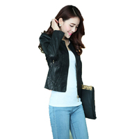 2018 neue mode leder jacke Koreanische version volle hülse kurzen reißverschluss leder jacke frauen einfarbig casual pu ledermantel