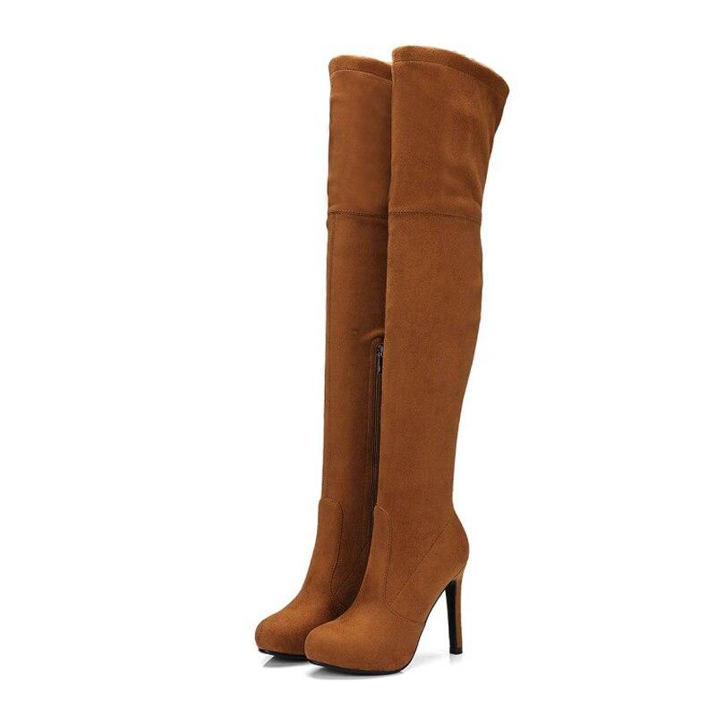 Las marrón Rodilla Alta Apricot Alto Sexy Caliente Muslo De Zapatos Del E Oscuro Otoño Y0714068f La Hasta Faux Invierno Mujeres Nieve gris negro Botas Mujer Tacón wg0OOq6