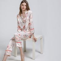 2018 New Silk Satin Women S Nightwear Pajamas Sets Brand Designer Rayon Sleepwear Set Long Sleeve