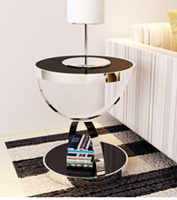 Stainless steel round. Toughened glass small sofa tea table