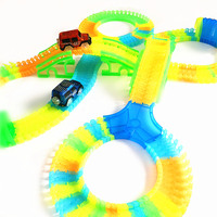 240 PCS Bend Flexible Curve Slot DIY Track Toy Car Set With Glows In The Dark