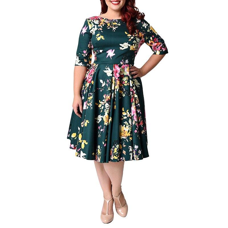 Plus la Taille Femmes Robe Mi Manches Longues O-cou Impression A-ligne Dames Robes Robe D'été Printemps Robes Vintage Robes BH198