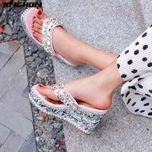 цена TINGHON Summer Rivets Rhinestone Wedge Slippers Platform High Heels Women Outside Shoes Wedge Slipper slides Sandals Flip Flops в интернет-магазинах