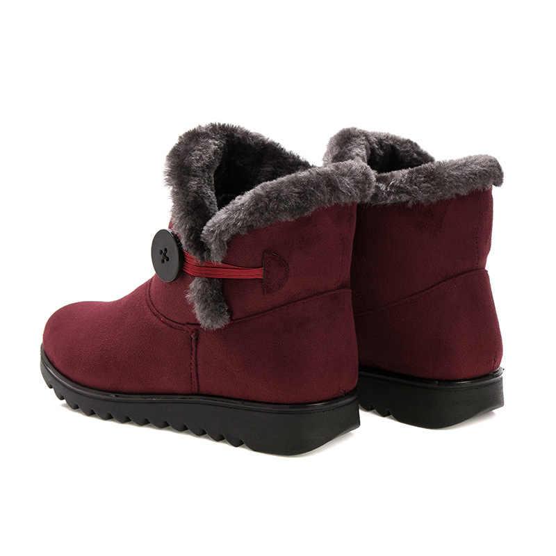 2018 Kış çizmeler Kadın yarım çizmeler Kadınlar Için kış ayakkabı Rahat Moda Siyah Kırmızı Kahverengi Sıcak Kadın Kar Botları artı boyutu LP075