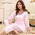 2016 New soft night clothes sexy embroidery hollow out lace v neck full sleeve women pijama summer ladies Sleep & Lounge wear