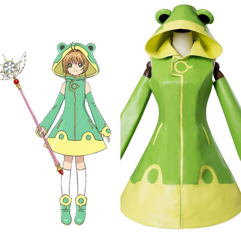 2018 Anime Cardcaptor Sakura 2 Kinomoto Sakura Cosplay Frog battle Full Set Unifrom Halloween Carnival For Women Costume