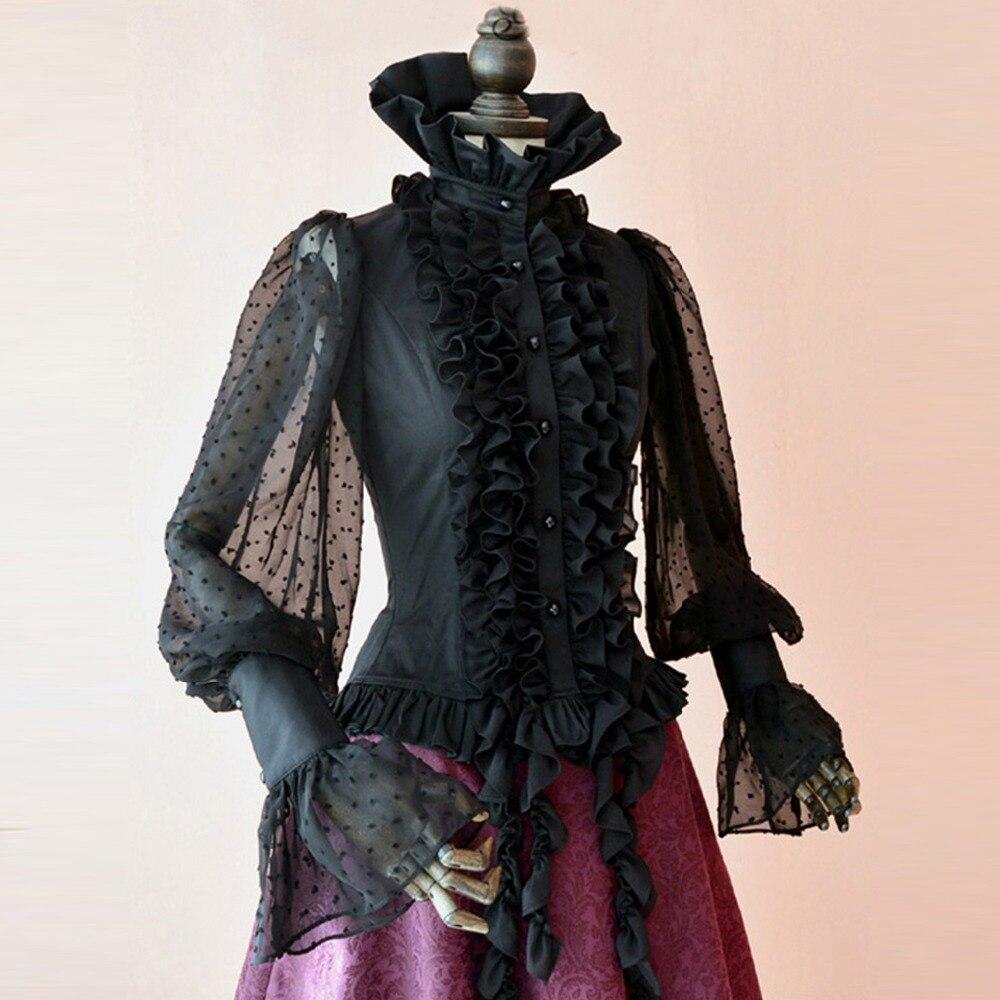 Spring summer women shirt Steampunk tops vintage Victoria Gothic costume office shirt Female Dovetail tassels black blouse Рубашка