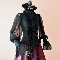 Spring Summer Women Shirt Steampunk Tops Vintage Victoria Gothic Costume Office Shirt Female Dovetail Tassels Black