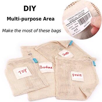 GreeOn Ecological Reusable Vegetable Fruit Bags - Reutilisable Cotton Mesh Cloth - Eco Friendly Zero Waste Produce Storage Bag 2