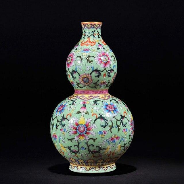 Chinesischen Stil Antiken Handgefertigten Grün Keramik Blumenvase
