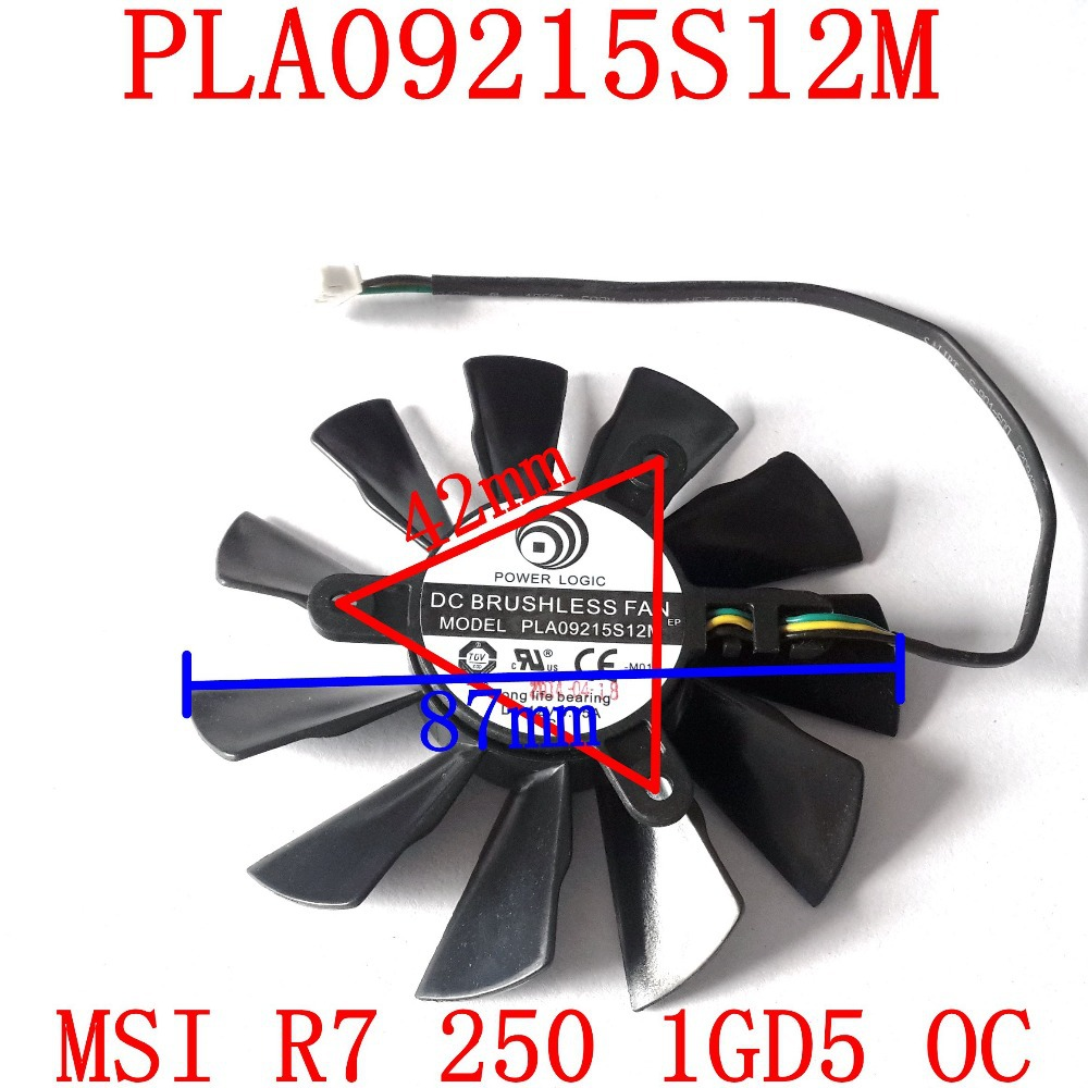 Free Shipping  PLA09215S12M 87mm 42x42x42mm DC12V 0.35A for MSI  R7 250 1GD5 OC Graphics Card Cooling Fan 3Wire 4Pin free shipping 2pcs lot pld08010s12hh dc 12v 0 35a 75mm dual fans replacement video card fan msi twin frozr iii 4pin