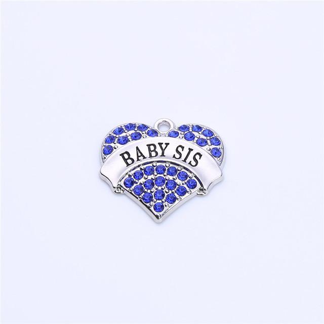 Women Jewelry Cute Heart Pendant Design Birthday Gift For Sister BABY SIS Written Beautiful Crystals Zinc