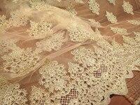 Lujo 120 cm ancho Light beige espolón óseo coche cordón lleno de oro de tela de encaje, vestido, accesorios de la ropa, tela de encaje