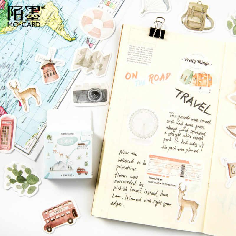 46 PCS/Kotak Pariwisata Washi Tape Dekoratif Kertas Jepang Alat Tulis Kawaii Scrapbooking Perlengkapan Stiker Kantor Pita Perekat