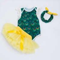 YK & Liebevolle Einzelhandel Ärmellose Neugeborenen Kleidung Stickerei Flügel Pfau Mädchen Strampler Kleidung + Kleinkind Rock mit Windel-abdeckung, Shorts