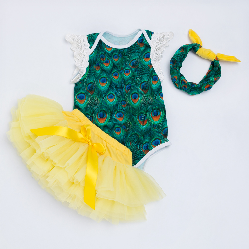 YK&Loving Retail Sleeveless Newborn Clothing Embroidery Wing Peacock Girls Romper Clothes+Toddler Skirt with Diaper Cover Shorts