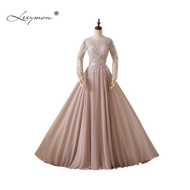 Leeymon Real Vintage Muslim Long Sleeves Evening Dress Plus Size